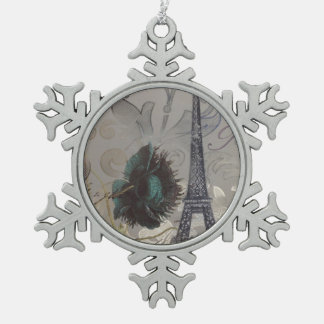 het grijs wervelt moderne vintage Parijs Eiffel Tin Sneeuwvlok Ornament