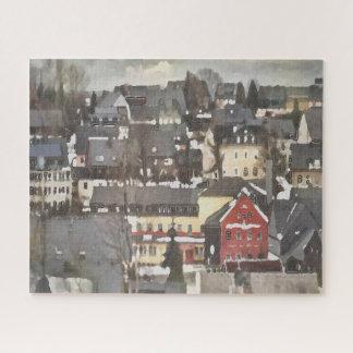 Het grijze Dorp van de Winter en Één Rode Digitale Legpuzzel