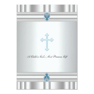Het grijze en Blauwe Dwars Dopen van Jongens 12,7x17,8 Uitnodiging Kaart
