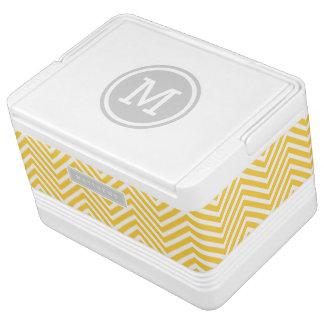 Het grijze en Gele Monogram van de Douane van de Igloo Koelbox