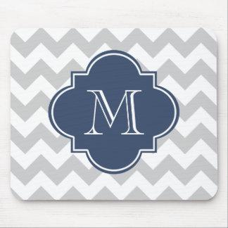 Het grijze en Marineblauwe Moderne Monogram van de Muismat