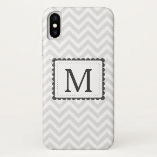 Het grijze en Witte Monogram van de Douane van de iPhone X Hoesje