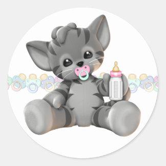 Het grijze Meisje van het Baby van het Katje van Ronde Stickers