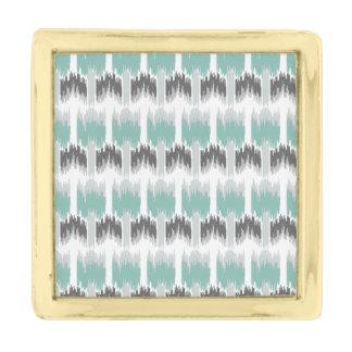 Het grijze Patroon Ikat van Aqua van de Munt Vergulde Reverspeld
