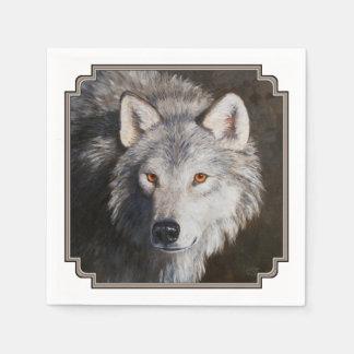 Het grijze Portret van de Wolf Papieren Servet
