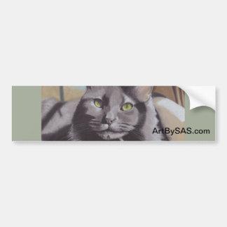 Het grijze Portret van het Huisdier van de Kat Bumpersticker