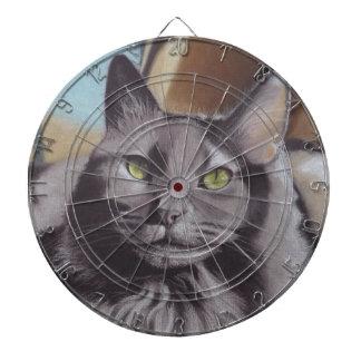Het grijze Portret van het Huisdier van de Kat Dartbord