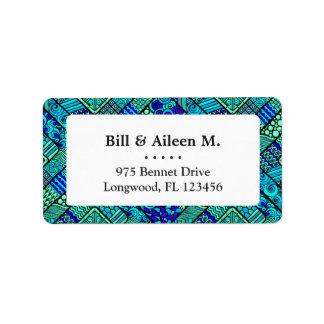 Het Groenachtig blauwe abstracte stammenpatroon Etiket