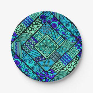 Het Groenachtig blauwe abstracte stammenpatroon Papieren Bordje
