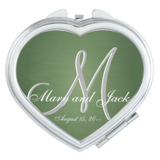 Het groene 3d Monogram van het Bord Make-up Spiegels