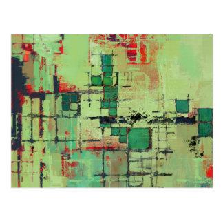 Het groene Abstracte Art. van het Rooster Briefkaart