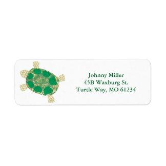 Het groene Bevlekte Adresetiket van de Schildpad Etiket