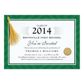 Het groene Diploma van de Grens met de Afstuderen 12,7x17,8 Uitnodiging Kaart
