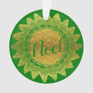 Het groene en Gouden Doily van het Kant Ornament