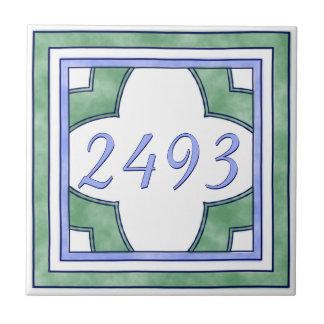 Het groene en Lichtblauwe Nummer van het Tegeltje