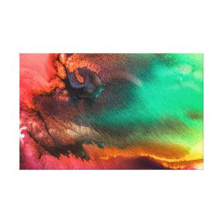 Het groene en Rode kleurrijke vloeibare abstracte Canvas Print
