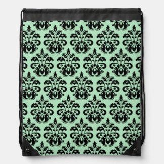 Het groene en zwarte damast van de munt trekkoord rugzakje