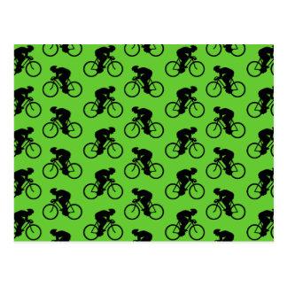 Het groene en Zwarte Patroon van de Fiets Briefkaart