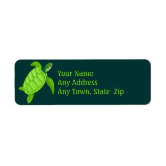 Het groene Etiket van de Schildpad van het Zee