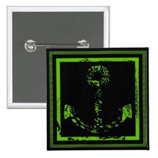 Het groene Fijne Art. van het Anker van het limoen Vierkante Button 5,1 Cm