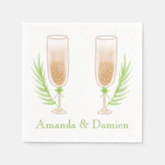 Het groene Gepersonaliseerde Huwelijk van de Wijn Papieren Servetten