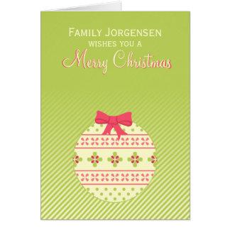 Het groene Gepersonaliseerde Ornament van Kerstmis Kaart