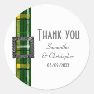 Het groene geruite Schotse wollen stoflint dankt u Ronde Sticker