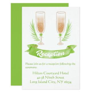 Het groene Glas van Champagne van de Ontvangst van 8,9x12,7 Uitnodiging Kaart