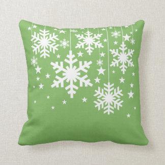Het Groene Hoofdkussen van sneeuwvlokken en van Sierkussen