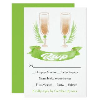 Het groene Huwelijk van de Glazen van Champagne 8,9x12,7 Uitnodiging Kaart