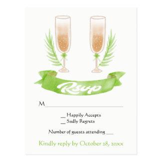Het groene Huwelijk van de Glazen van Champagne Briefkaart