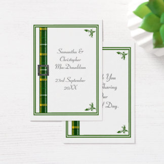 Het groene huwelijk van het geruite Schotse wollen Visitekaartjes