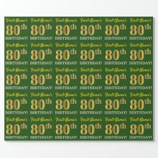 """Het groene, ImitatieGoud kijkt """"80ste VERJAARDAG """" Cadeaupapier"""