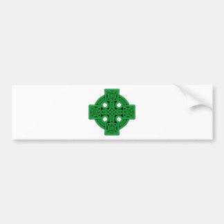 Het groene Keltische Kruis van 4 manier Bumpersticker