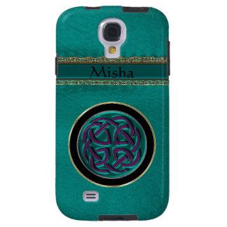 Het Groene Leer van het monogram met Keltische Galaxy S4 Hoesje