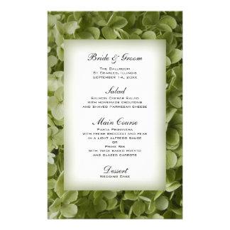 Het groene Menu van het Huwelijk van de Hydrangea