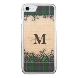 Het groene monogram van de geruite Schotse wollen Carved iPhone 8/7 Hoesje