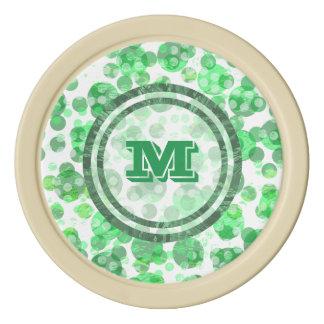 Het groene Monogram van Vlekken Pokerchips