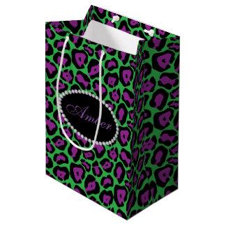 Het groene & Paarse Luipaard, Diamanten & Monogram Medium Cadeauzakje