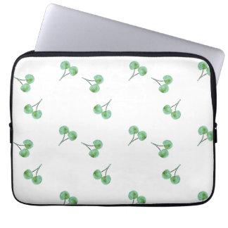Het groene Patroon van de Kers Computer Sleeve
