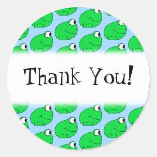 Het groene Patroon van de Kikker. Dank u Ronde Sticker