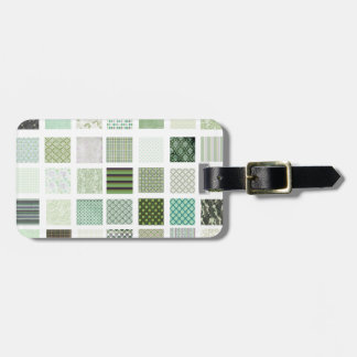 Het groene patroon van het dekbedmozaïek kofferlabel