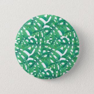 Het groene patroon van monstera tropische bladeren ronde button 5,7 cm