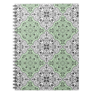 Het groene Patroon van Rococo's bloeit Ringband Notitieboek