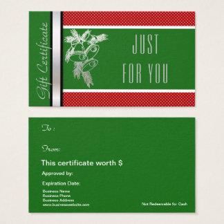 Het Groene Rood van het Certificaat van de Kaart Visitekaartjes