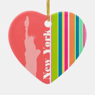 Het Groene Roze & Seafoam van de zalm; New York Keramisch Hart Ornament