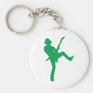 Het groene Silhouet van de Speler van de Gitaar Basic Ronde Button Sleutelhanger