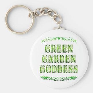 Het groene Spreuk van de Godin van de Tuin Basic Ronde Button Sleutelhanger