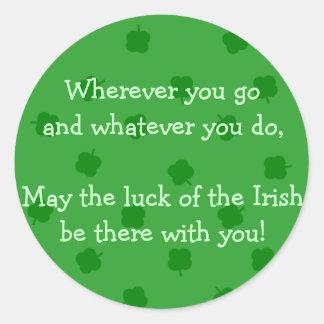 Het groene vier Doorbladerde Ierse Geluk van de Ronde Sticker