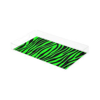 Het Groene Zebra van het geweldige van de Kleur Acryl Dienblad